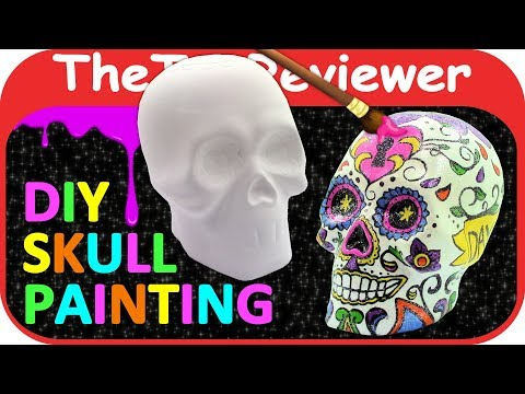 DIY Sugar Scull Craft Painting Halloween Day of the Dead Color Unboxing Toy Review by TheToyReviewer