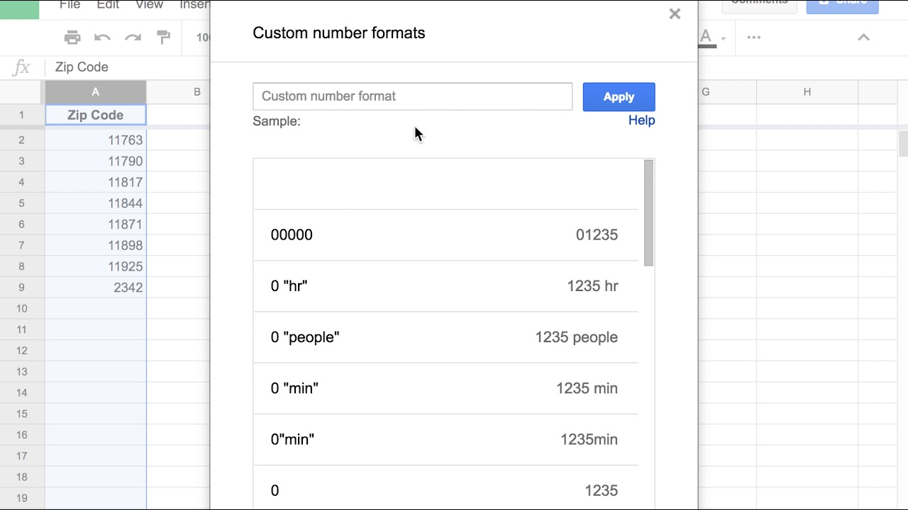 Google Sheets Custom Number Format: Zip Codes