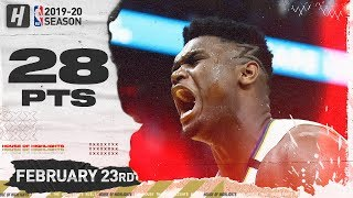 Zion Williamson 28 Points Full Highlights | Pelicans vs warriors | February 23, 2020