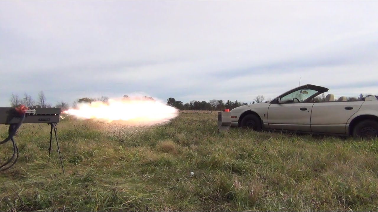 250lb Railgun vs. Car Door: 27,000 Joules. Launch #4 - YouTube