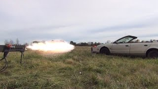 250lb Railgun vs. Car Door: 27,000 Joules. Launch #4