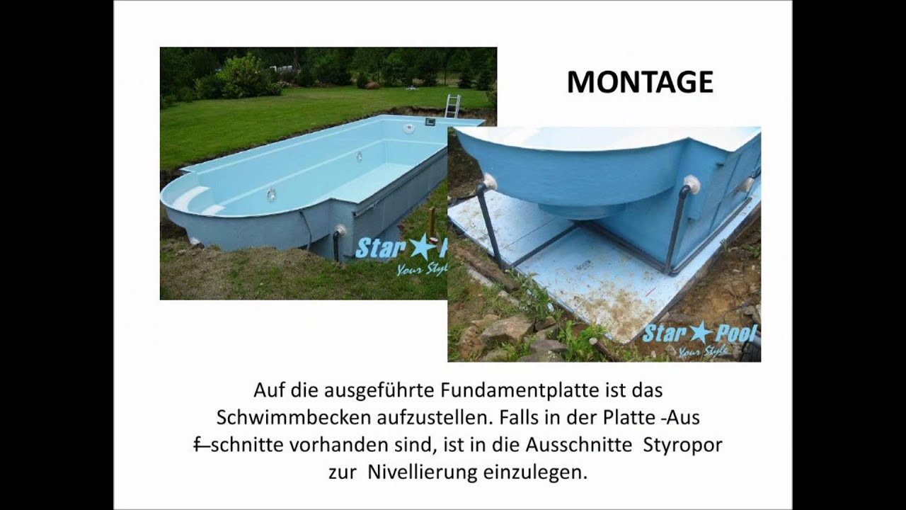gfk schwimmbecken montage bau starpool anleitung erdarbeiten schritt f r schritt youtube. Black Bedroom Furniture Sets. Home Design Ideas