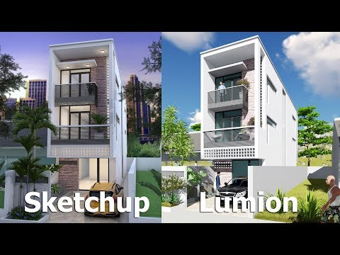 Narrow House Design Sketchup Exterior Modeling W4,2m N02
