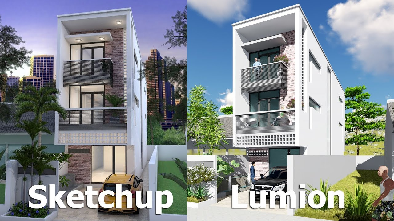 Narrow House Design Sketchup Exterior Modeling Wm N