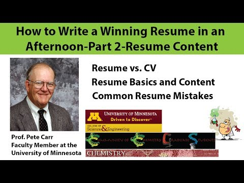 How to Write a Winning Resume in an Afternoon, Part 2 Resume