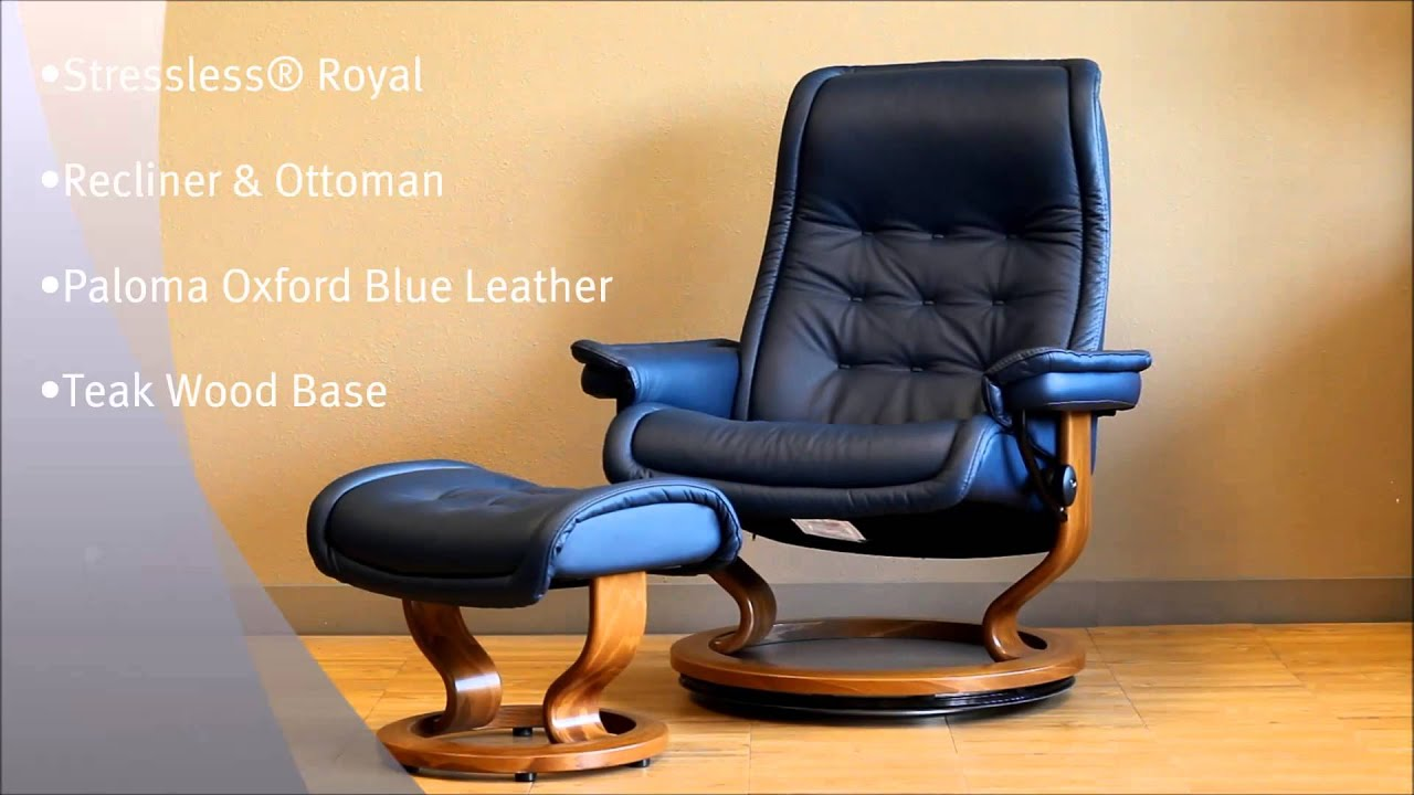 stressless royal recliner chair and ottoman paloma oxford blue leather and teak wood base by. Black Bedroom Furniture Sets. Home Design Ideas