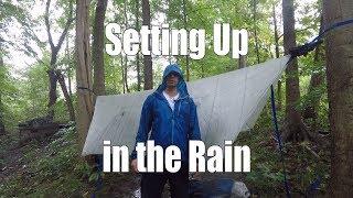 Setting Up a Hammock in the Rain