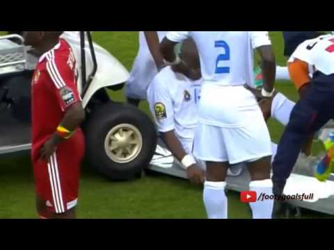 D R  Congo's player get hit with the medical cart at Africa Cup of Nations   YouTube