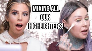 MIXING ALL OUR HIGHLIGHTERS TOGETHER with Laura Lee!