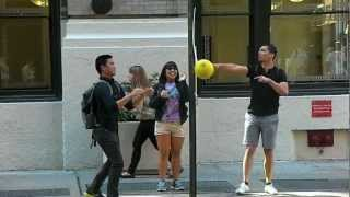 Eliciting a Double Take with Sidewalk Tetherball