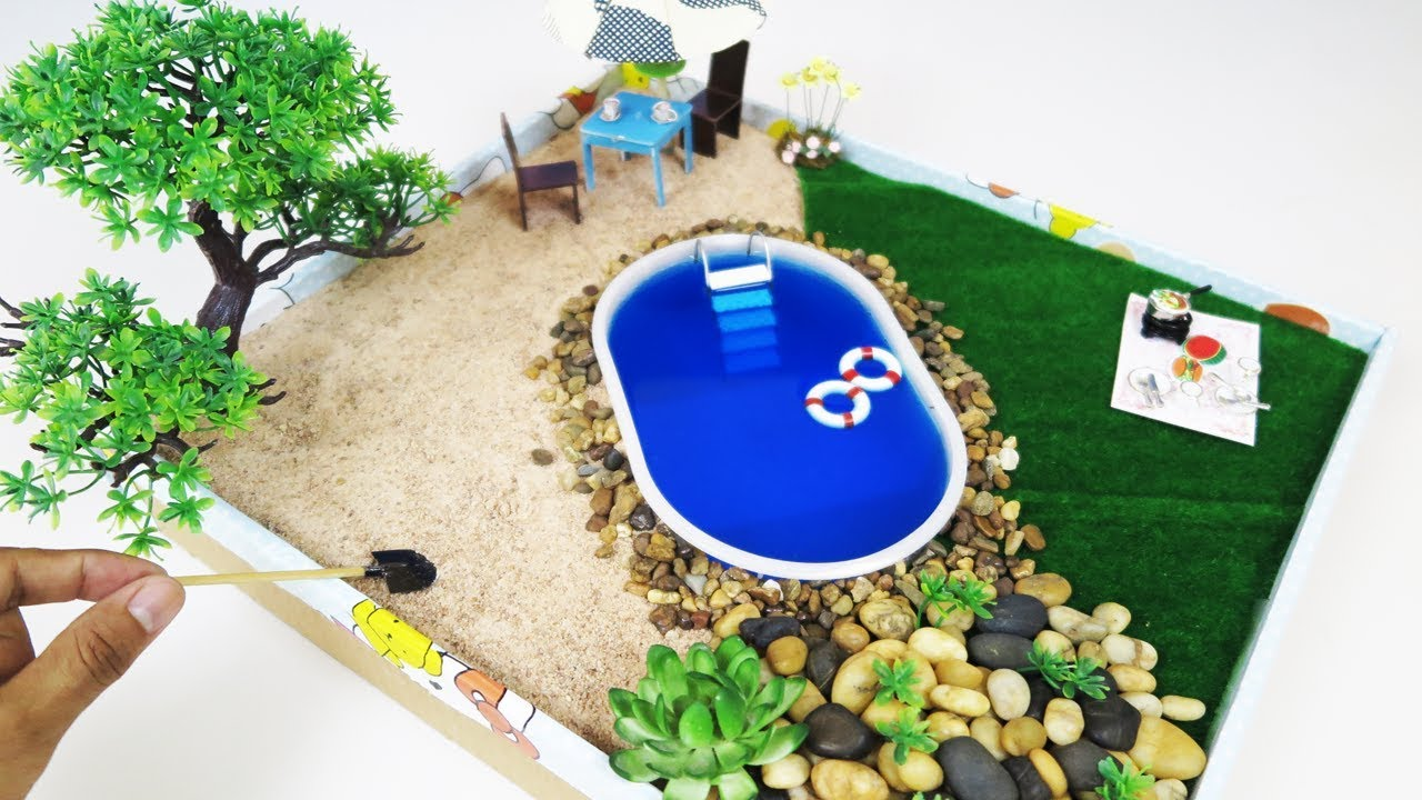 How To Make Mini Pool Zen Garden   DIY Fairy Garden For LoL Doll