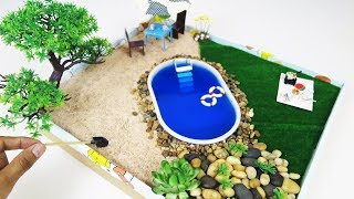 How to Make Mini Pool Zen Garden -  DIY  Fairy Garden For LoL Doll