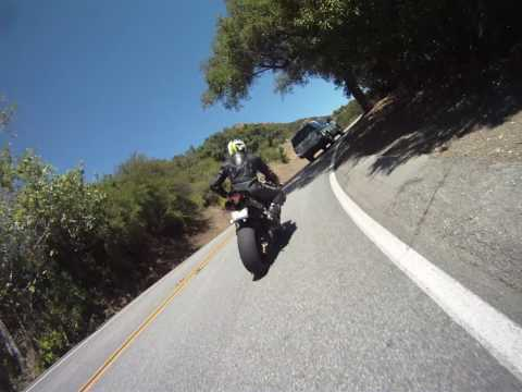 """2009 R1 and 2010 1198 on """"Snake"""" section of Mulholland Highway in Malibu California"""