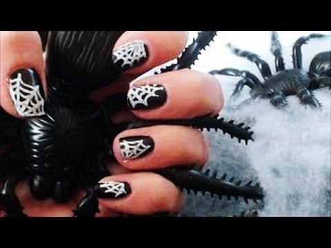 Halloween Spider Web Nail Art Tutorial Youtube