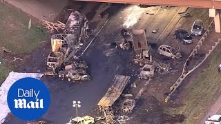 Daylight reveals horrific devastation of fiery truck crash
