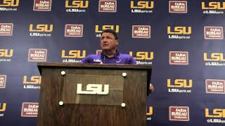 LSU coach Ed Orgeron Monday media conference Mississippi State game week
