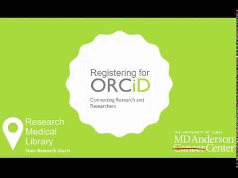 Registering for an ORCiD