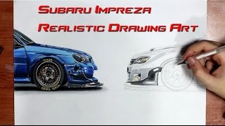 Subaru Impreza Realistic Drawing Art by Orhan Ozvatan