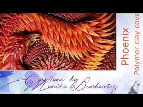 phoenix polymer clay notebook journal cover