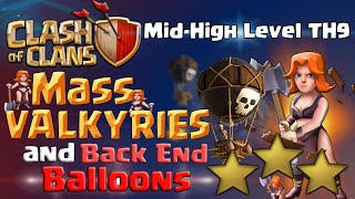 Clash of Clans   TH9 3 Star Attack - Mass Valkyries and Back End Balloons - CoC Attack Strategy
