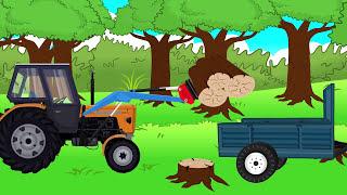 Tractor with front loader - firewood | Traktor z ładowaczem | Drewno na Opał - (Bajka) dla Dzieci