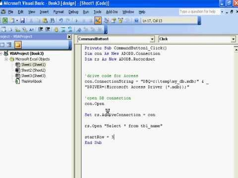 VBA/Excel Connecting Excel to Access using VBA - YouTube