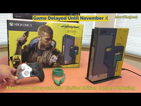 Xbox One X Cyberpunk 2077 Limited Edition Console Unboxing (GAME DELAYED TILL NOVEMBER)