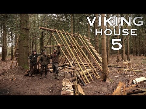 Building a Viking House with Traditional Hand Tools: Timber Roof, Bed | Bushcraft Project (PART 5)