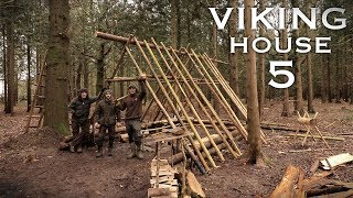 Building a Viking House with Hand Tools: Timber Roof, Bed | Bushcraft Project (PART 5)
