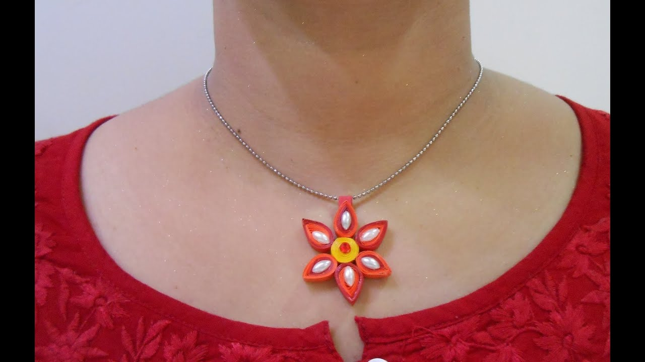 Papercraft DIY: How to make Quilling Pendant Necklace