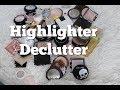 Highlighter Declutter 2018 | Worst Declutter Ever 😂