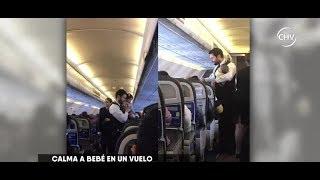 Se viralizó imagen de tripulante tranquilizando a una guagua - CHV NOTICIAS