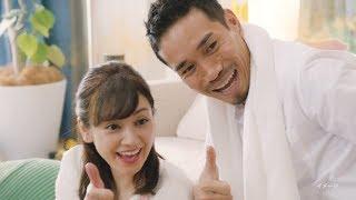 サッカーの長友佑都選手と、妻で女優の平愛梨が、花王「メリットシャン...