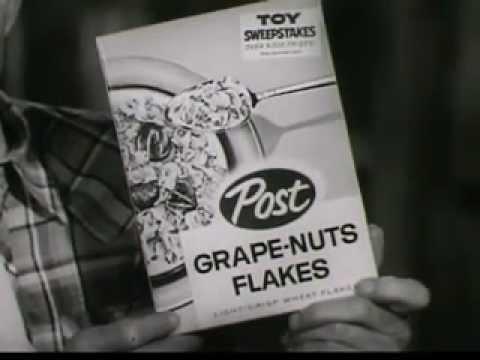 VINTAGE LATE 1950s POST GRAPE NUT FLAKES CAST COMMERCIAL WILLIAM FAWCETT