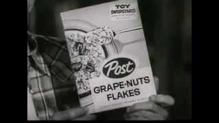 "VINTAGE LATE 1950s POST GRAPE NUT FLAKES CAST COMMERCIAL (WILLIAM FAWCETT ""F-U-R-Y"" TV show)"