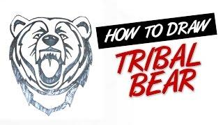 How to draw bear tribal tattoo design