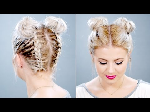 HOW TO: Double Braided Space Buns On Short Hair | Milabu