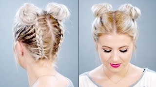 Double Braided Space Buns On Short Hair | Milabu