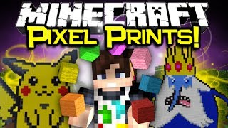 Minecraft PIXEL PRINTER MOD Spotlight! - 3D Printing & Easy Pixel Art! (Minecraft Mod Showcase)