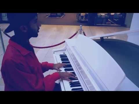 Leicester Highcross white piano