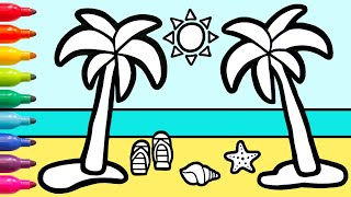 Beach Summer Drawing & Palm Tree Coloring For Kids, Children | Magic Fingers Art