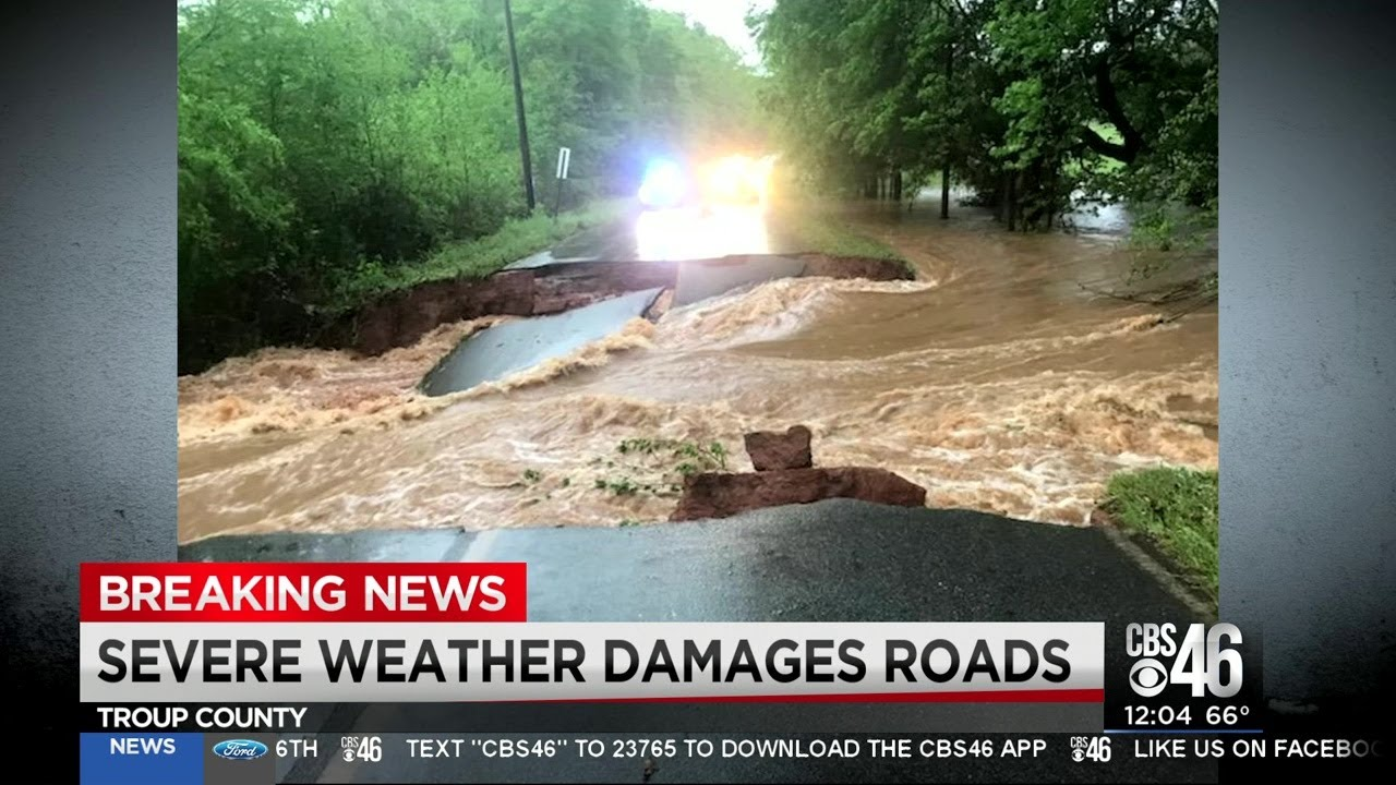 Severe weather washes away Troup County roads