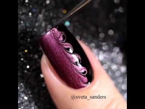 Дизайн ногтей в черно розовом цвете