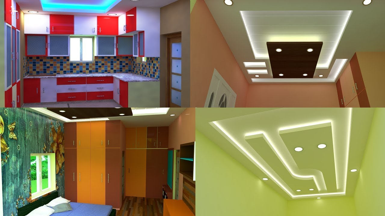 Modern 3bhk Duplex House False Ceiling Cupboard Kitchen Design 3d