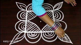 easy & simple rangoli designs by Suneetha * creative padi kolam with 3 dots * new muggulu patterns