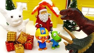 White Christmas Dinosaurs and Santa Claus's Mighty Snowman