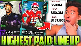 HIGHEST PAID NFL PLAYERS LINEUP! PATRICK MAHOMES, ZEKE, DONALD! Madden 20 Ultimate Team