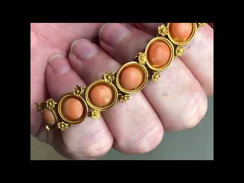 Antique mid-Victorian Etruscan Revival coral bracelet from about 1870