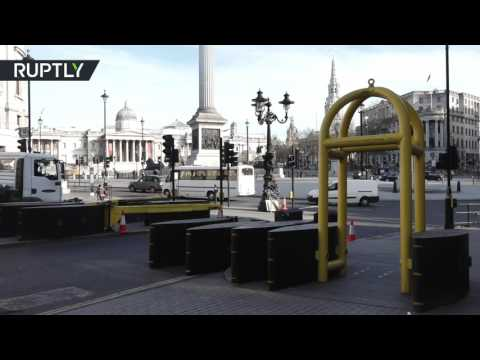RAW: Metal barricades installed in central London following Westminster attack
