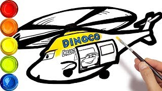 Draw a helicopter Dinoco Cruz . CARS 4 coloring pages drawing for kids learn colors 💡 Tim Tim TV